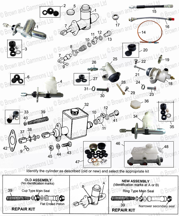 Mx5 Parts Catalogue >> Clutch master. Slave & brake master cylinders - Brown and Gammons
