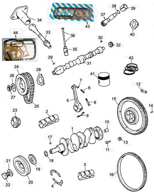Image for 3 bearing Crankshaft. Pistons. Rods. Flywheel. Bearings. Cam etc.