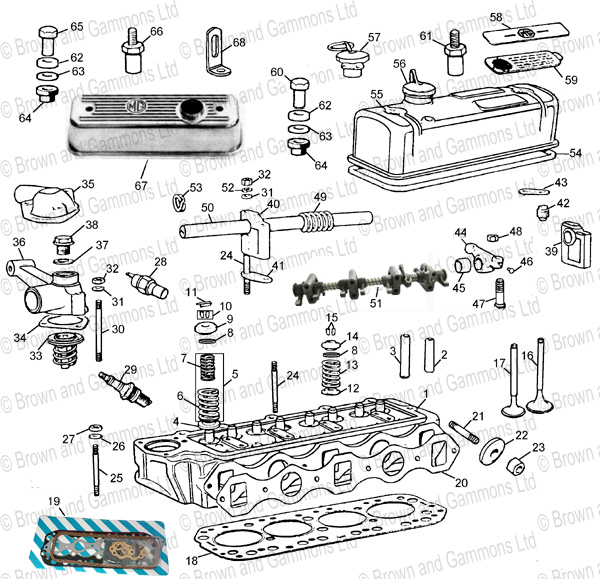 Image for Cylinder head & rocker assembly for 18GA 3 bearing - 18GB 5 bearing