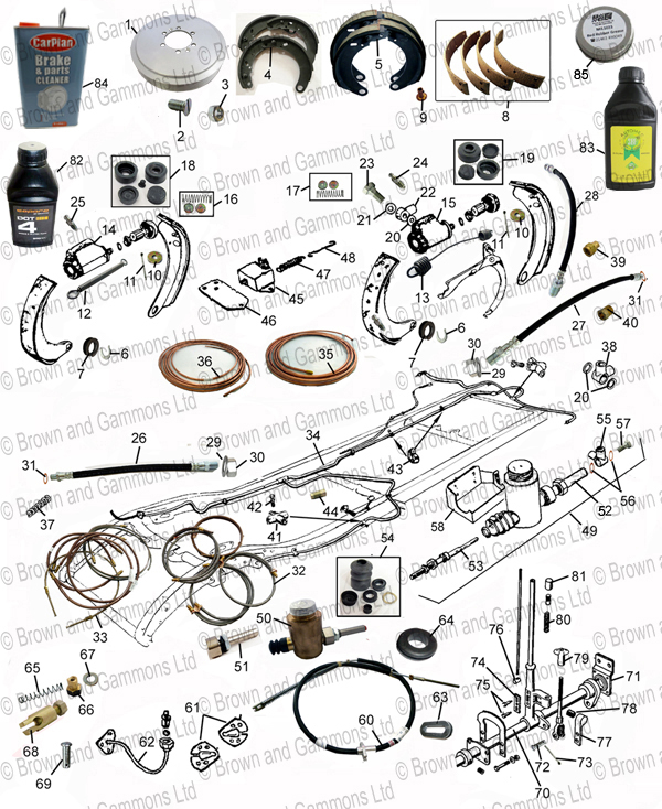 Mx5 Parts Catalogue >> Brakes. Handbrake. Brake pipes & Brake Master cylinder - Brown and Gammons