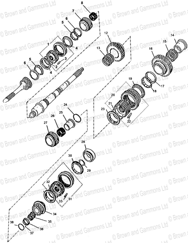 Image for Gearbox Mainshaft Gears (R380)