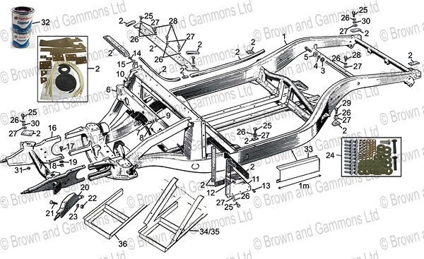 Image for Chassis frame. Body to chassis fixings