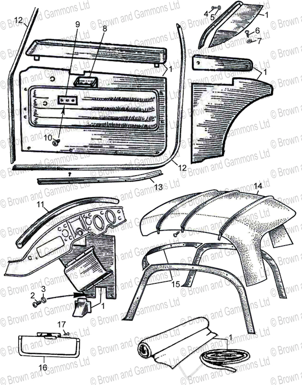 Image for Coupe interior panel sets. Door seal. Headlining & Fittings