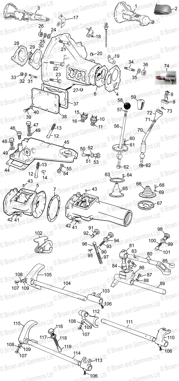 Image for Gearbox 4 syncro & Selectors 1800cc & V8