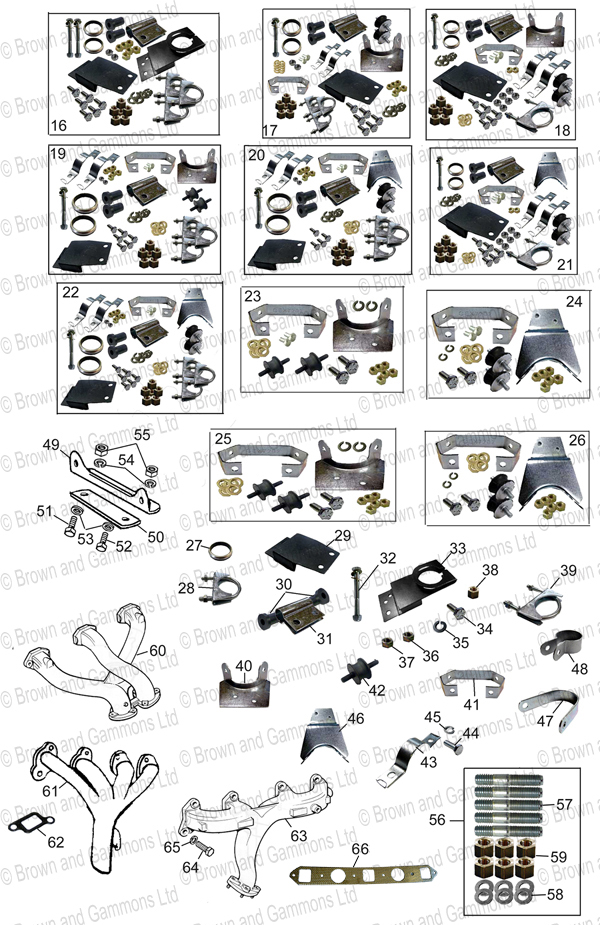 Image for Exhaust mountings. Manifolds & re-studding kits
