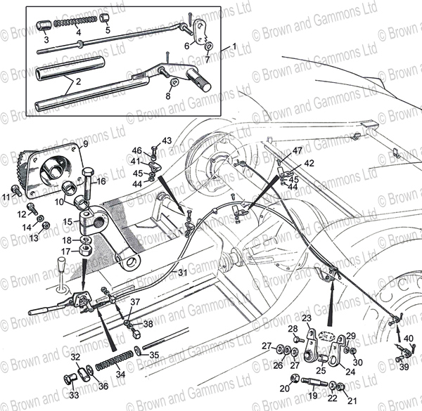 Image for Handbrake cable & mechanism