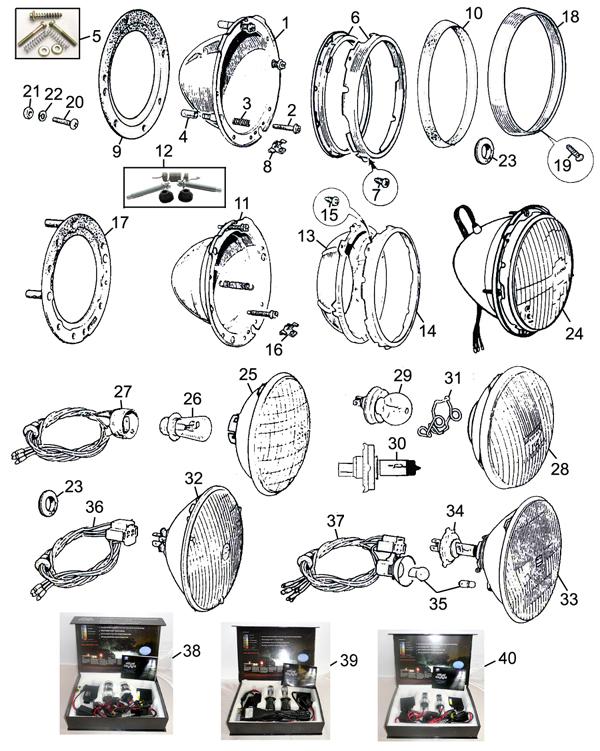 MGC /& MG MIDGET HEADLAMP LOOMS X 2 BAU2110 MGB