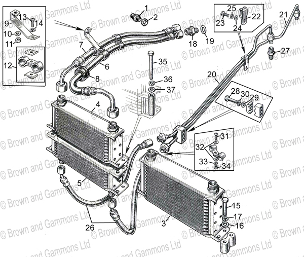 Image for Oil Cooler. Pipes & Fittings
