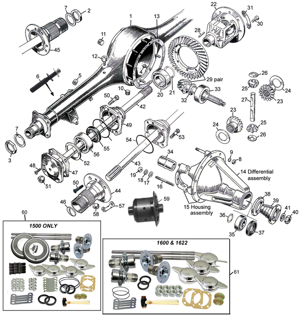 Image for Rear axle assembly & differential. Wire wheel conversion kits