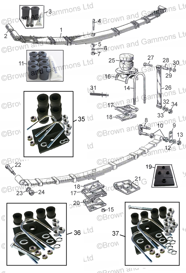 Rear Spring Fitting Kit MGB Roadster /& GT Models Tube Axle New