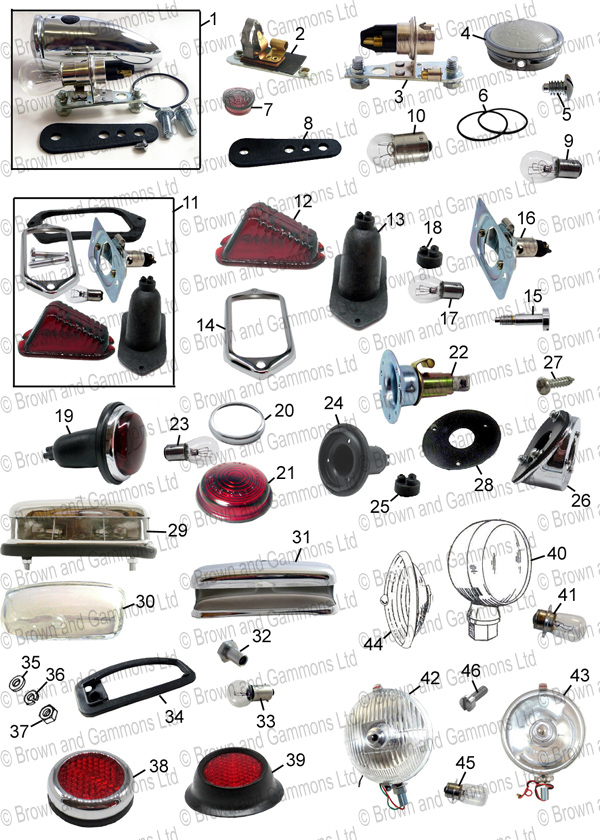 Image for Sidelamps tail lamps. Number plate lamp. Fog lamps