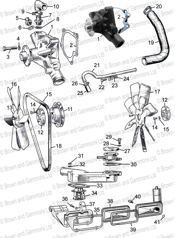 Image for Water Pump. Fan. Fan Belt. Thermostat & Fittings