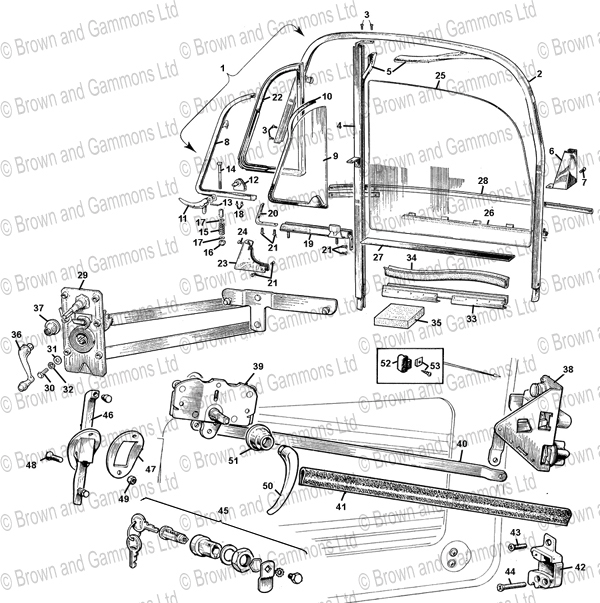 Image for Coupe door windows. Door locks & Fittings