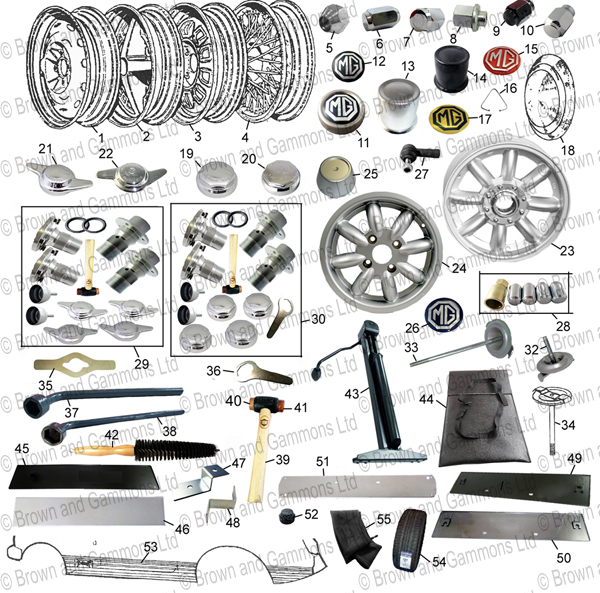 Image for Road wheels. Wheel centres. Tools. Number plates and coach lines