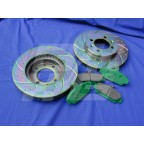Image for FRONT SPORT SLOTTED DISC & GREEN PAD KIT