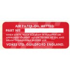 Image for 'VOKES' AIR FILTER DECAL T/CAM